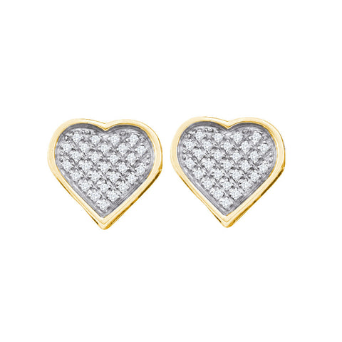 Yellow-tone Sterling Silver Womens Round Diamond Heart Love Cluster Earrings 1/8 Cttw 57551 - shirin-diamonds