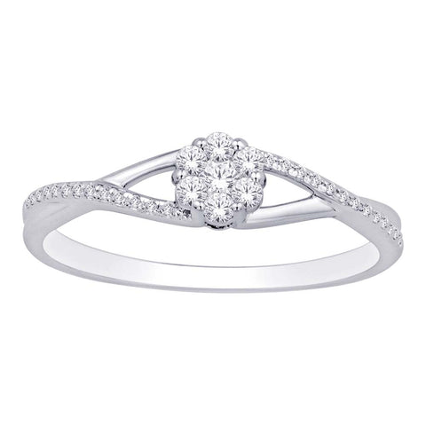 10K White Gold 1/5 Ct.Tw. Diamond Flower Ring
