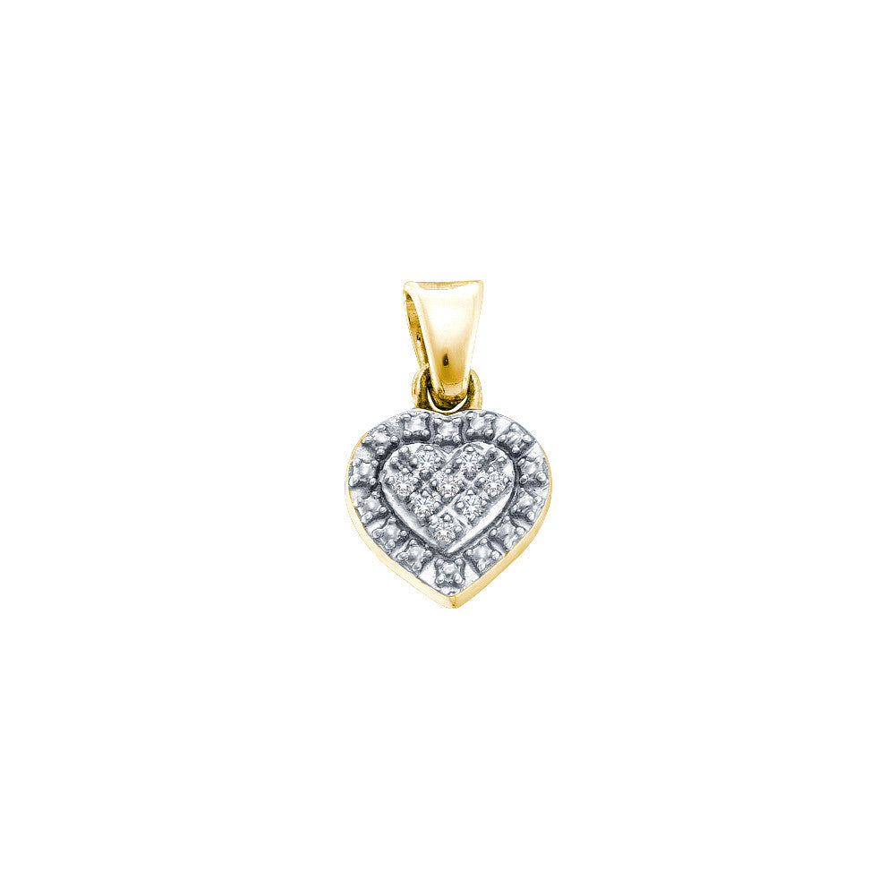 Yellow-tone Sterling Silver Womens Round Diamond Small Heart Pendant .03 Cttw 57789 - shirin-diamonds