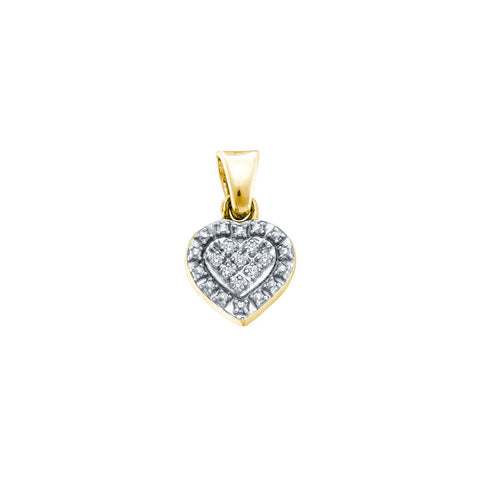 Yellow-tone Sterling Silver Womens Round Diamond Small Heart Pendant .03 Cttw 57789