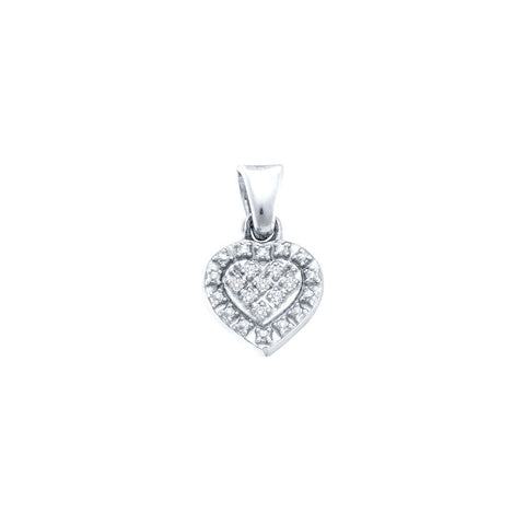 Sterling Silver Womens Round Diamond Small Heart Pendant .03 Cttw 57790 - shirin-diamonds