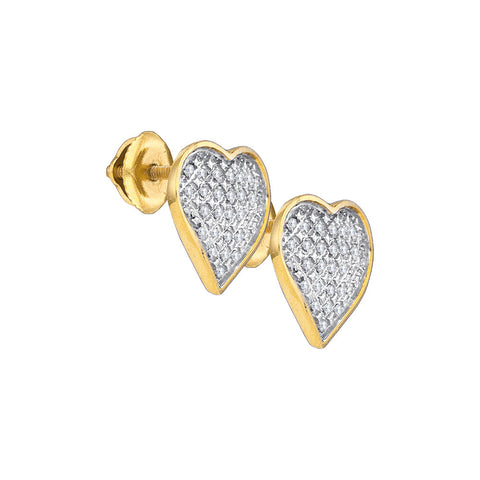 Yellow-tone Sterling Silver Womens Round Diamond Heart Love Screwback Earrings 1/6 Cttw 62399 - shirin-diamonds