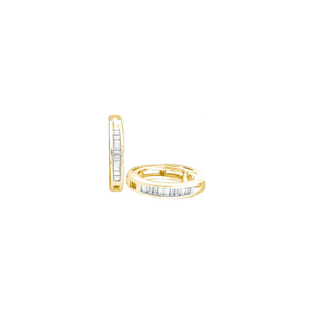 Yellow-tone Sterling Silver Womens Baguette Diamond Huggie Earrings 1/6 Cttw 62854 - shirin-diamonds