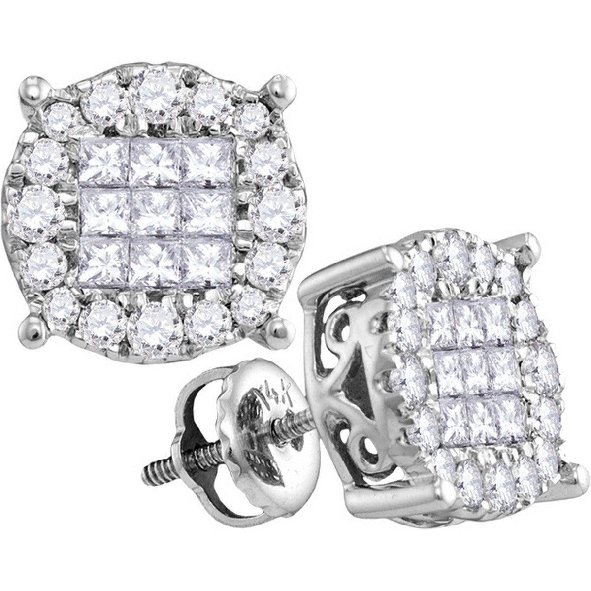 14kt White Gold Womens Princess Diamond Soleil Cluster Earrings 1.00 Cttw 63181 - shirin-diamonds