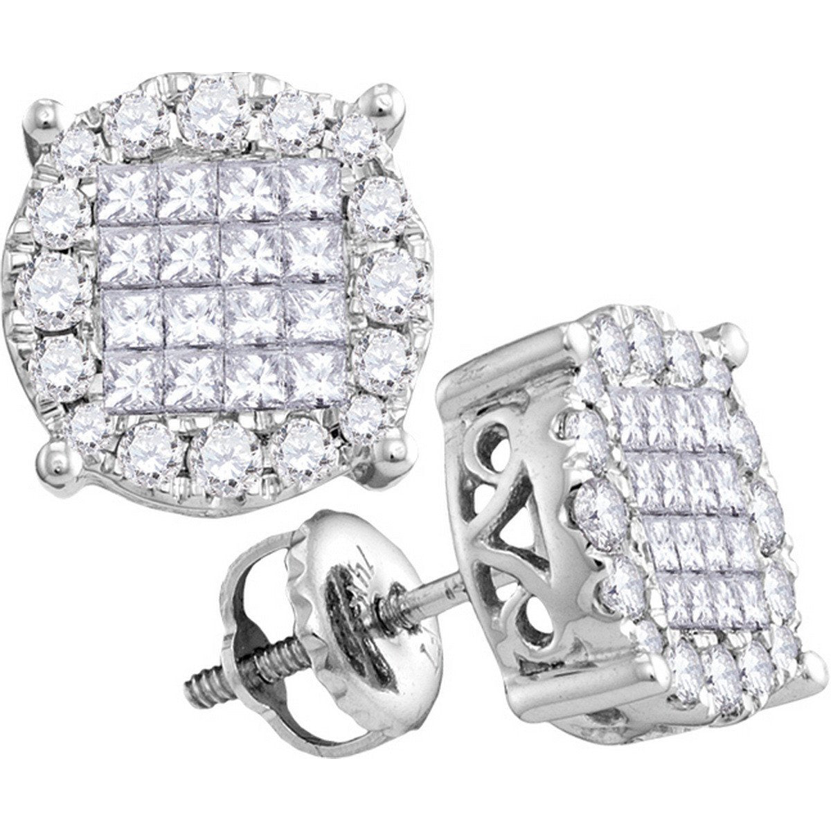 14kt White Gold Womens Princess Diamond Soleil Cluster Earrings 1.00 Cttw 63185 - shirin-diamonds