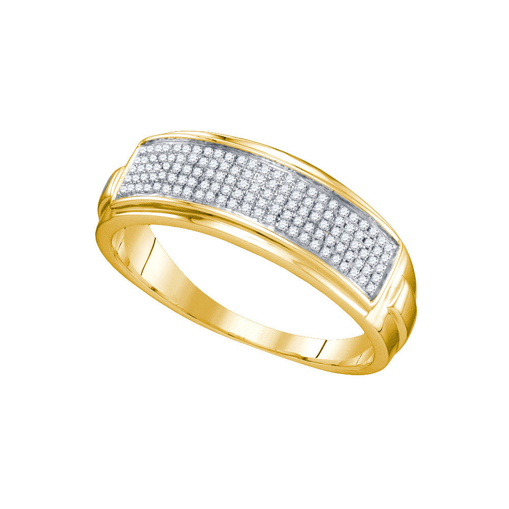 Yellow-tone Sterling Silver Mens Round Diamond Band Wedding Anniversary Ring 1/5 Cttw 63482 - shirin-diamonds