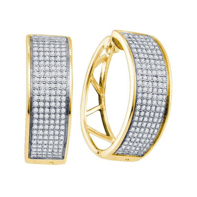 Yellow-tone Sterling Silver Womens Round Diamond Hoop Earrings 7/8 Cttw 64361 - shirin-diamonds