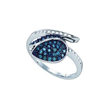 10k White Gold Blue Colored Diamond Womens Ladies Classy Tulip Flower Cluster Fine Ring 1/2 Cttw 65672 - shirin-diamonds