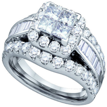 14kt White Gold Womens Princess Diamond Cluster Bridal Wedding Engagement Ring 2.00 Cttw 67241 - shirin-diamonds