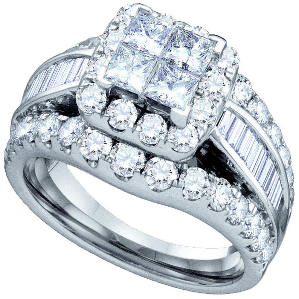 14kt White Gold Womens Princess Diamond Halo Cluster Bridal Wedding Engagement Ring 3.00 Cttw 67244 - shirin-diamonds