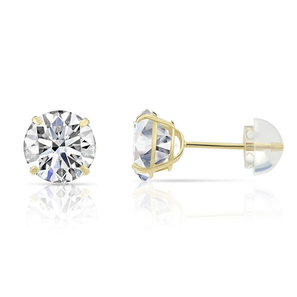 Solid 14kt Yellow Gold Cubic Zirconia Stud Earrings 4mm - 6mm