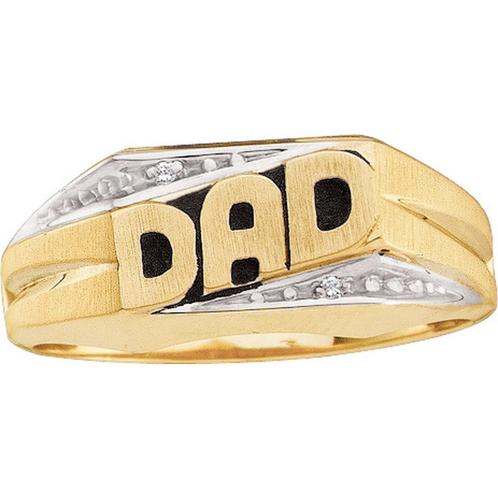 10kt Yellow Gold Mens Round Diamond Dad Father Ring .01 Cttw 7028 - shirin-diamonds