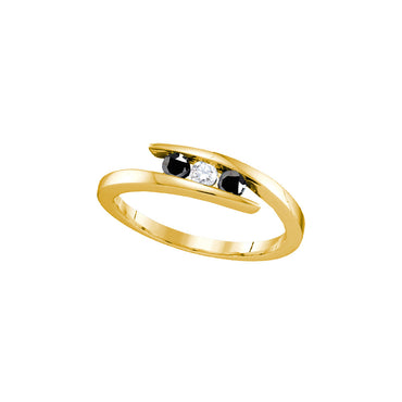 Yellow-tone Sterling Silver Womens Round Black Diamond 3-stone Bridal Wedding Engagement Ring 1/4 Cttw 70869 - shirin-diamonds