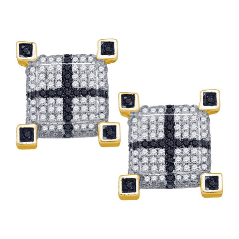 10kt Yellow Gold Womens Round Black Colored Diamond 3D Cube Square Cross Earrings 5/8 Cttw 71526