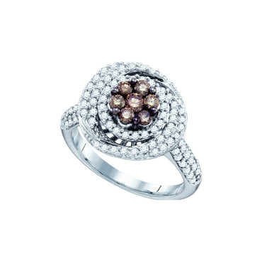10k White Gold Cognac-brown Colored Round Diamond Flower Cluster Womens Cocktail Ring .99 Cttw 71573 - shirin-diamonds