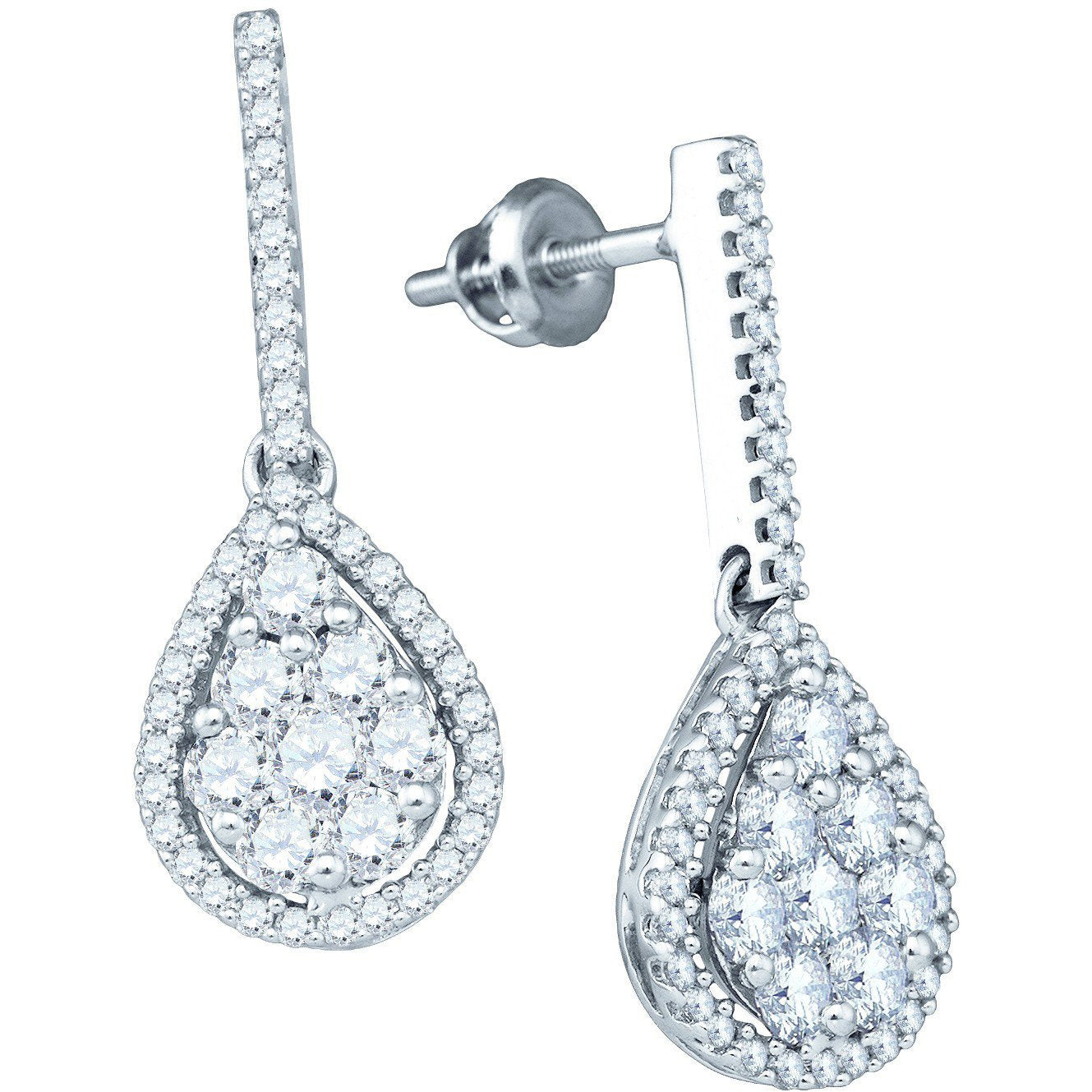 10kt White Gold Womens Round Diamond Dangle Screwback Earrings 1-1/2 Cttw 71975 - shirin-diamonds