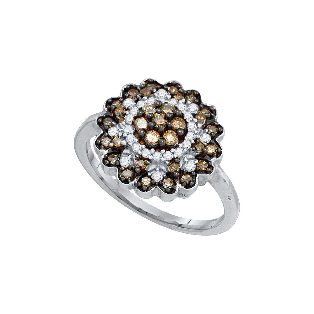 10kt White Gold Womens Round Cognac-brown Colored Diamond Flower Cluster Ring 5/8 Cttw 72289 - shirin-diamonds
