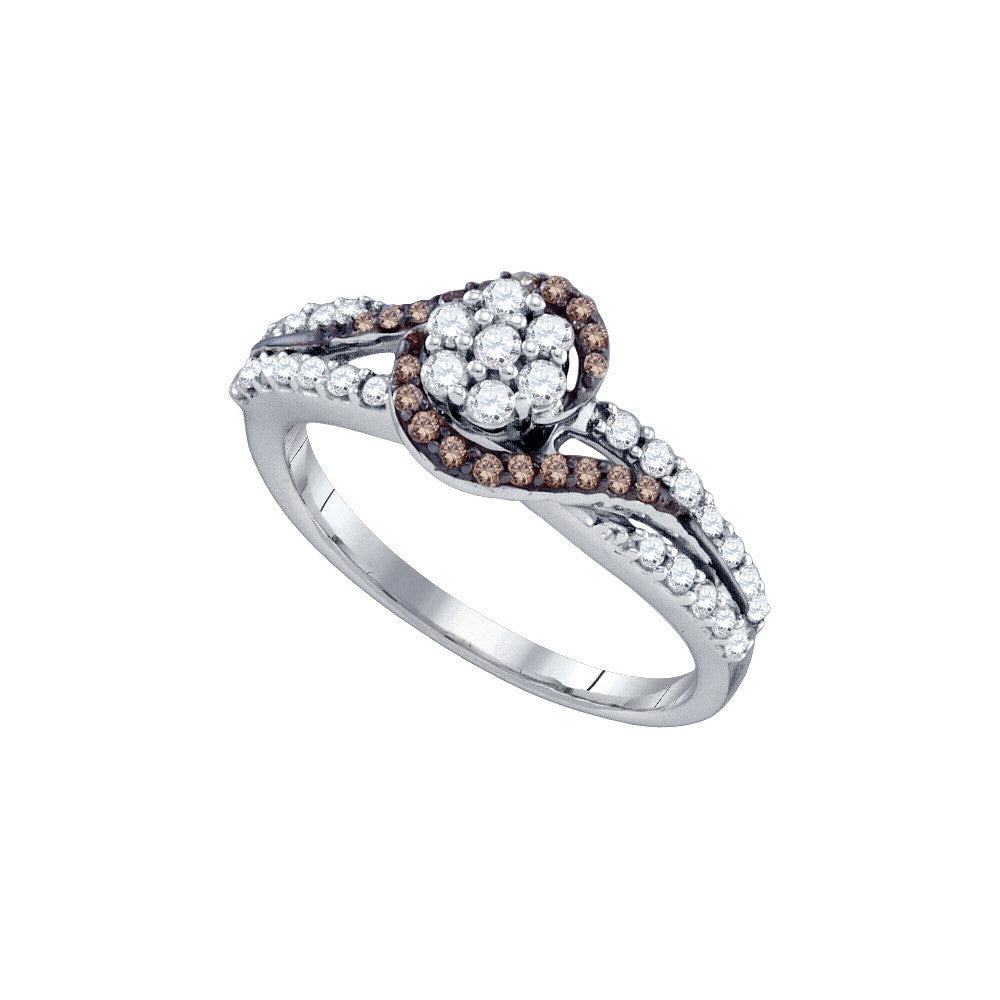 10k White Gold Cognac-brown Colored Diamond Flower Cluster Bridal Ring 1/2 Cttw 72357 - shirin-diamonds