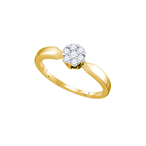 10k Yellow Gold Flower Cluster Diamond Womens Bridal Wedding Engagement Ring 1/4 Cttw 72682 - shirin-diamonds