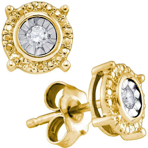 Yellow-tone Sterling Silver Womens Round Diamond Value Stud Earrings 1/20 Cttw 75741 - shirin-diamonds