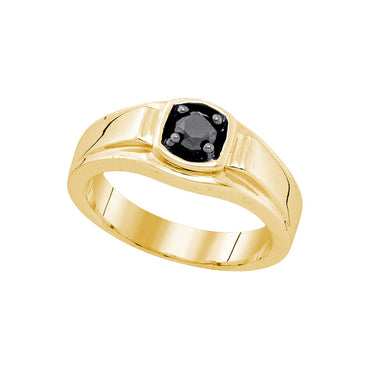 Sterling Silver Yellow-tone Mens Solitaire Black Diamond Wedding Ring 1/2 Cttw Sizes 75765 - shirin-diamonds