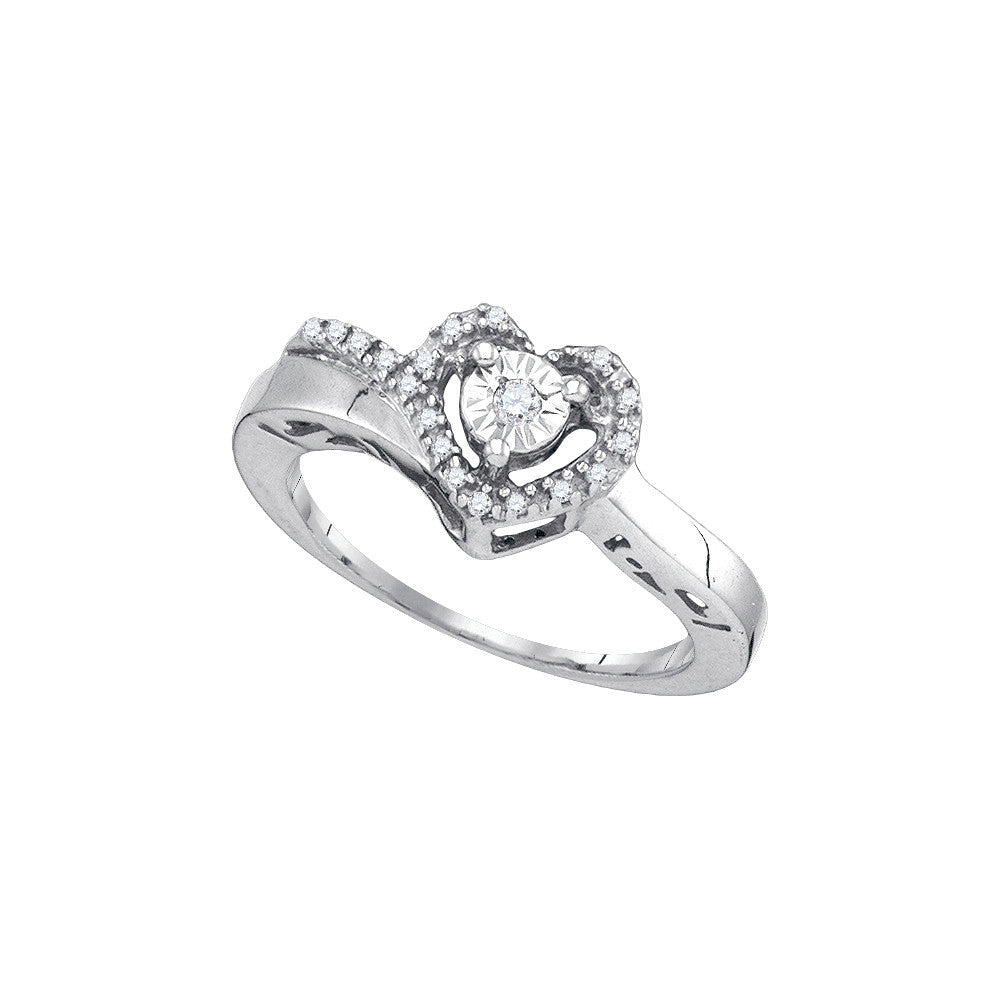 Sterling Silver Womens Round Diamond Heart Love Promise Ring 1/10 Cttw 76414 - shirin-diamonds
