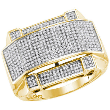 10kt Yellow Gold Mens Round Diamond Arched Rectangle Cluster Ring 5/8 Cttw 77932 - shirin-diamonds