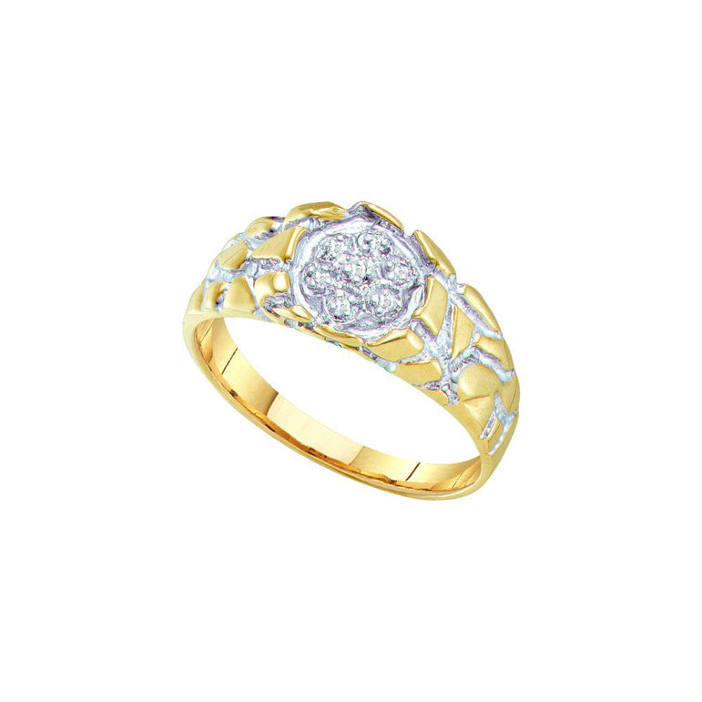10kt Yellow Gold Mens Round Diamond 2-tone Nugget Band Ring 1/20 Cttw 7895 - shirin-diamonds