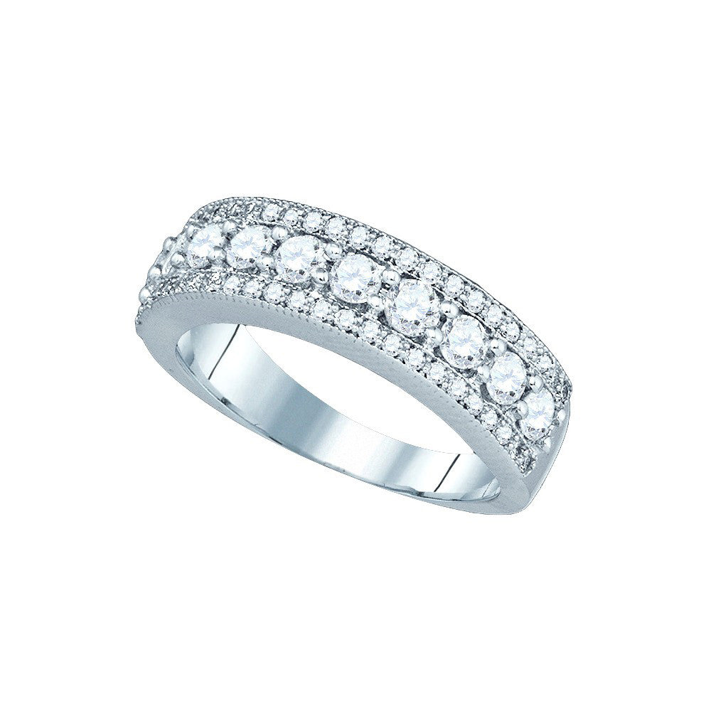 14kt White Gold Womens Round Pave-set Diamond Symmetrical Parallel Band 1 Cttw 81202 - shirin-diamonds