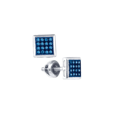 10k White Gold Womens Blue Colored Diamond Square Cluster Screwback Stud Earrings 1/10 Cttw 81466 - shirin-diamonds
