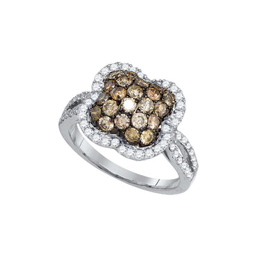 10kt White Gold Womens Round Cognac-brown Colored Diamond Quatrefoil Cluster Ring 1-1/2 Cttw 81696 - shirin-diamonds