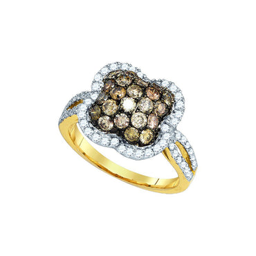 10kt Yellow Gold Womens Round Cognac-brown Colored Diamond Quatrefoil Cluster Ring 1-1/2 Cttw 81697 - shirin-diamonds