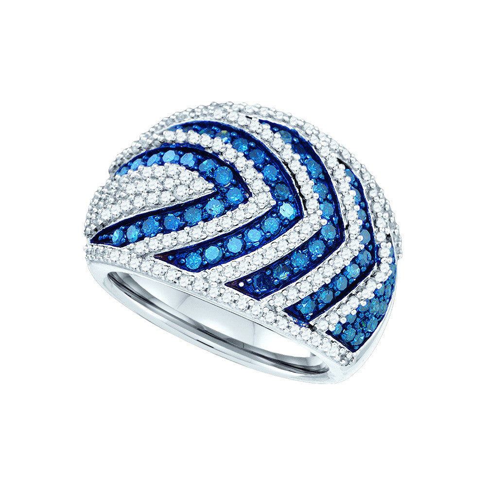 10kt White Gold Womens Round Blue Colored Diamond Cocktail Ring 1-3/4 Cttw 82039 - shirin-diamonds