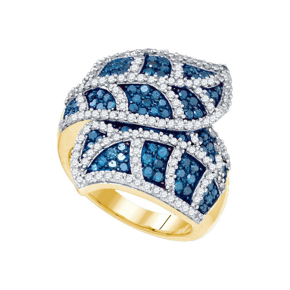 10kt Yellow Gold Womens Round Blue Colored Diamond Leaf Flower Stripe Cocktail Ring 2.00 Cttw 82163 - shirin-diamonds