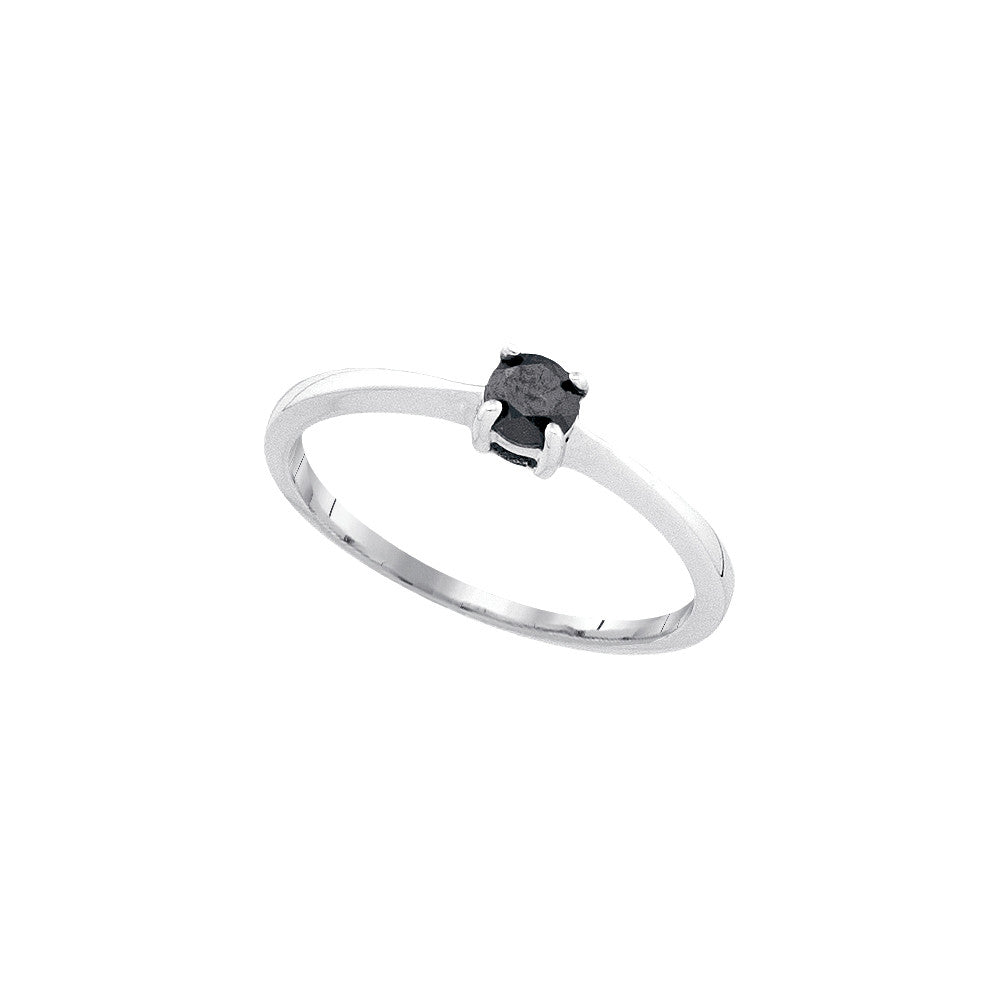 10kt White Gold Womens Round Black Colored Diamond Solitaire Bridal Wedding Engagement Ring 1/4 Cttw 82320 - shirin-diamonds