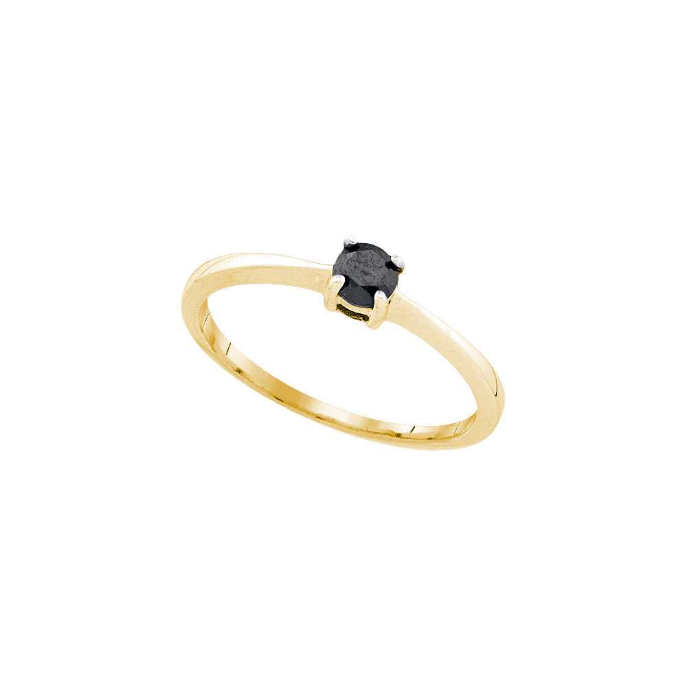 10kt Yellow Gold Womens Round Black Colored Diamond Solitaire Bridal Wedding Engagement Ring 1/4 Cttw 82348 - shirin-diamonds