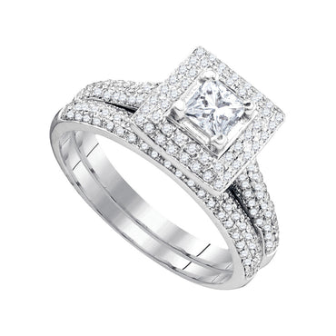 14kt White Gold Womens Diamond Princess Bridal Wedding Engagement Ring Band Set 1/3 Cttw 83621 - shirin-diamonds
