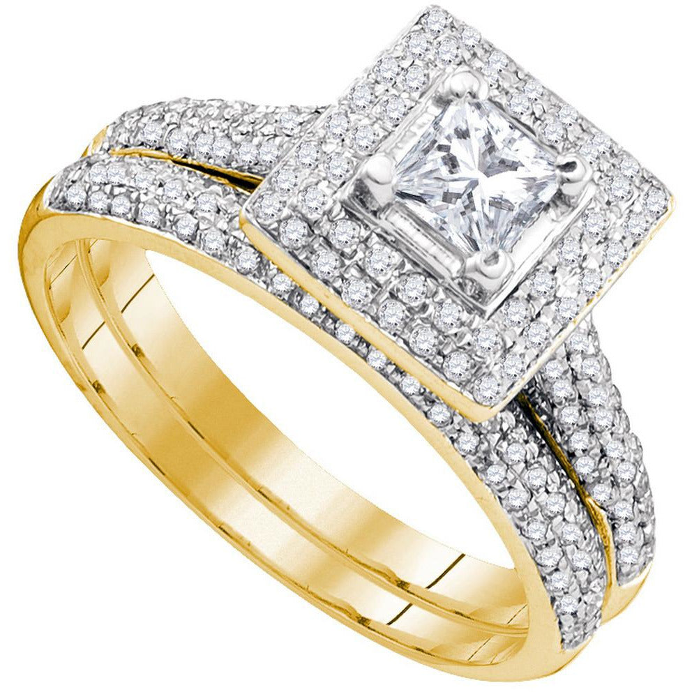 14kt Yellow Gold Womens Diamond Princess Halo Bridal Wedding Engagement Ring Band Set 1/3 Cttw 83634 - shirin-diamonds