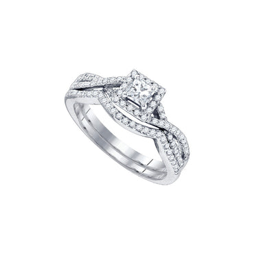 14kt White Gold Womens Princess Diamond Twist Bridal Wedding Engagement Ring Band Set 5/8 Cttw 84060 - shirin-diamonds