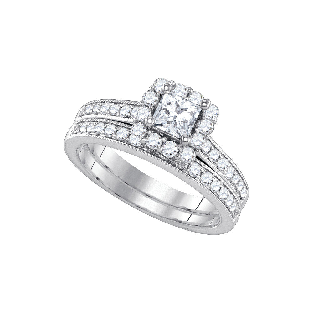 14kt White Gold Womens Princess Diamond Halo Bridal Wedding Engagement Ring Band Set 1-1/4 Cttw 84106 - shirin-diamonds