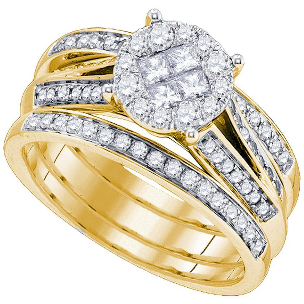 14kt Yellow Gold Womens Princess Round Diamond Soleil Bridal Wedding Engagement Ring Band Set 1.00 Cttw 84248 - shirin-diamonds