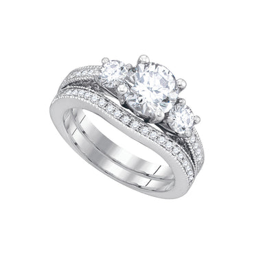 14kt White Gold Womens Round Diamond Bridal Wedding Engagement Ring Band Set 2-1/2 Cttw 84435 - shirin-diamonds