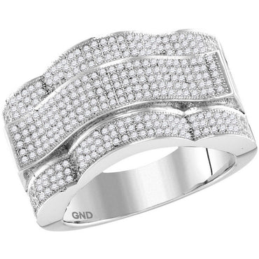10kt White Gold Mens Round Diamond Domed Rectangle Cluster Ring 1.00 Cttw 85963 - shirin-diamonds