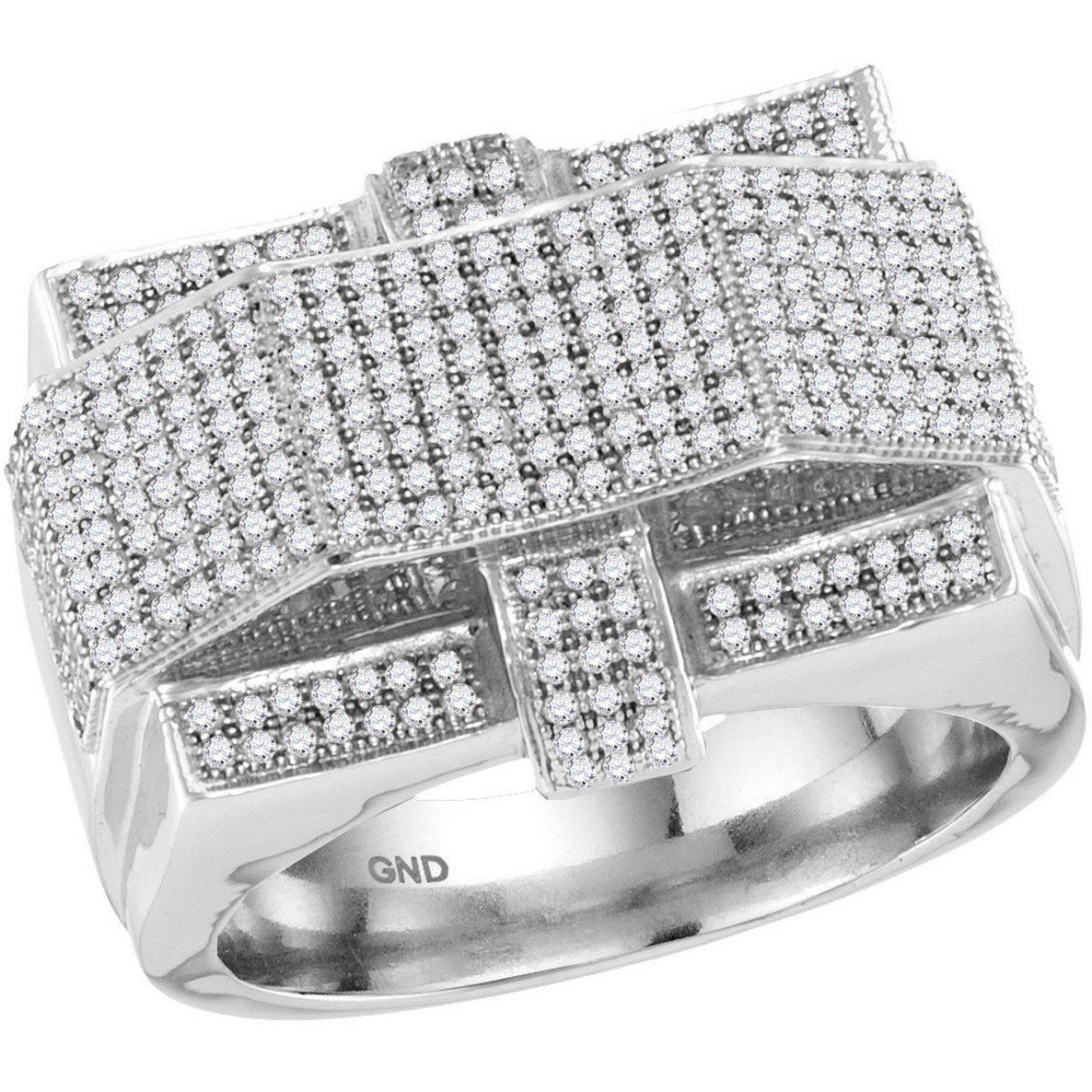 10kt White Gold Mens Round Diamond Rectangle Arched Cluster Ring 1.00 Cttw 86017 - shirin-diamonds