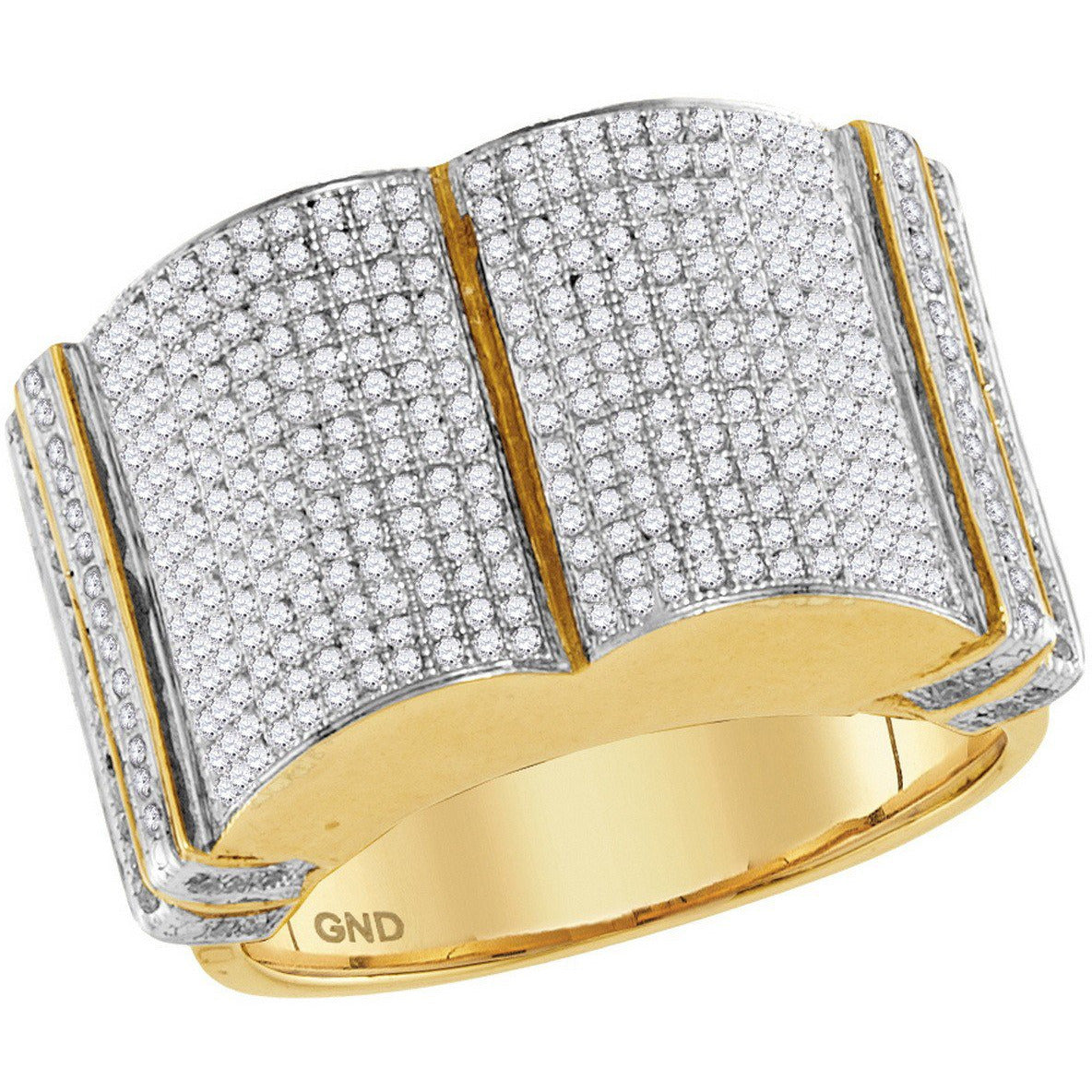 10kt Yellow Gold Mens Round Diamond Symmetrical Rounded Cluster Ring 1-1/5 Cttw 86018 - shirin-diamonds