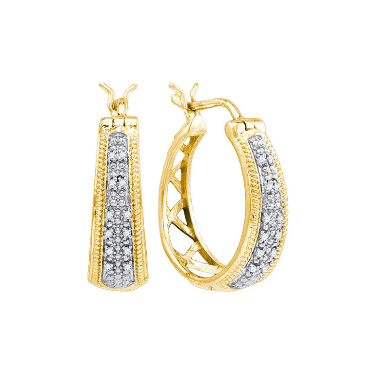 Yellow-tone Sterling Silver Womens Round Diamond Hoop Earrings 1/10 Cttw 86264 - shirin-diamonds
