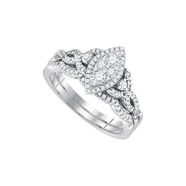 14k White Gold Round Diamond Marquise-shape Cluster Womens Wedding Bridal Ring Set 1/2 Cttw 86614 - shirin-diamonds