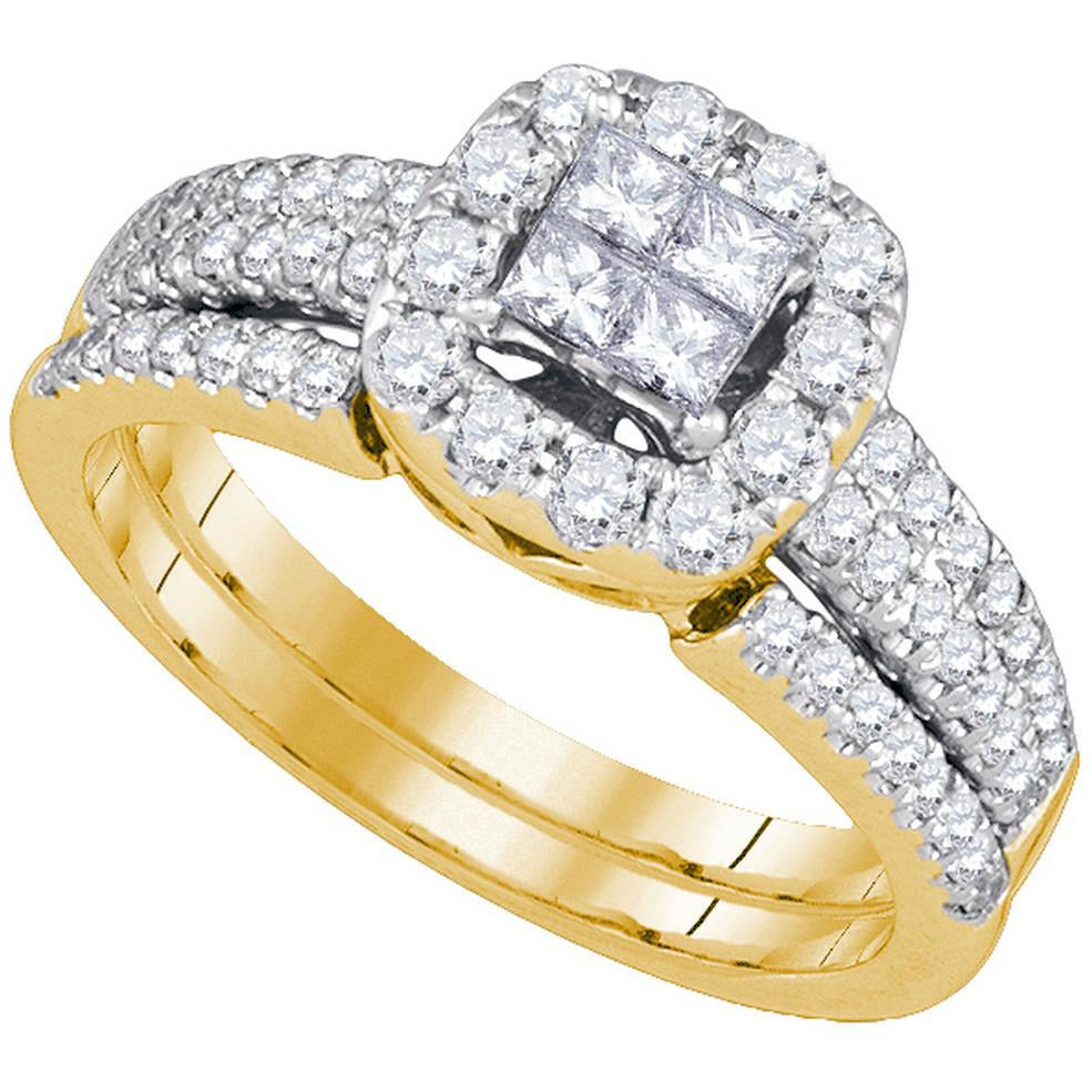 14kt Yellow Gold Womens Princess Diamond Bridal Wedding Engagement Ring Band Set 1.00 Cttw 86616 - shirin-diamonds