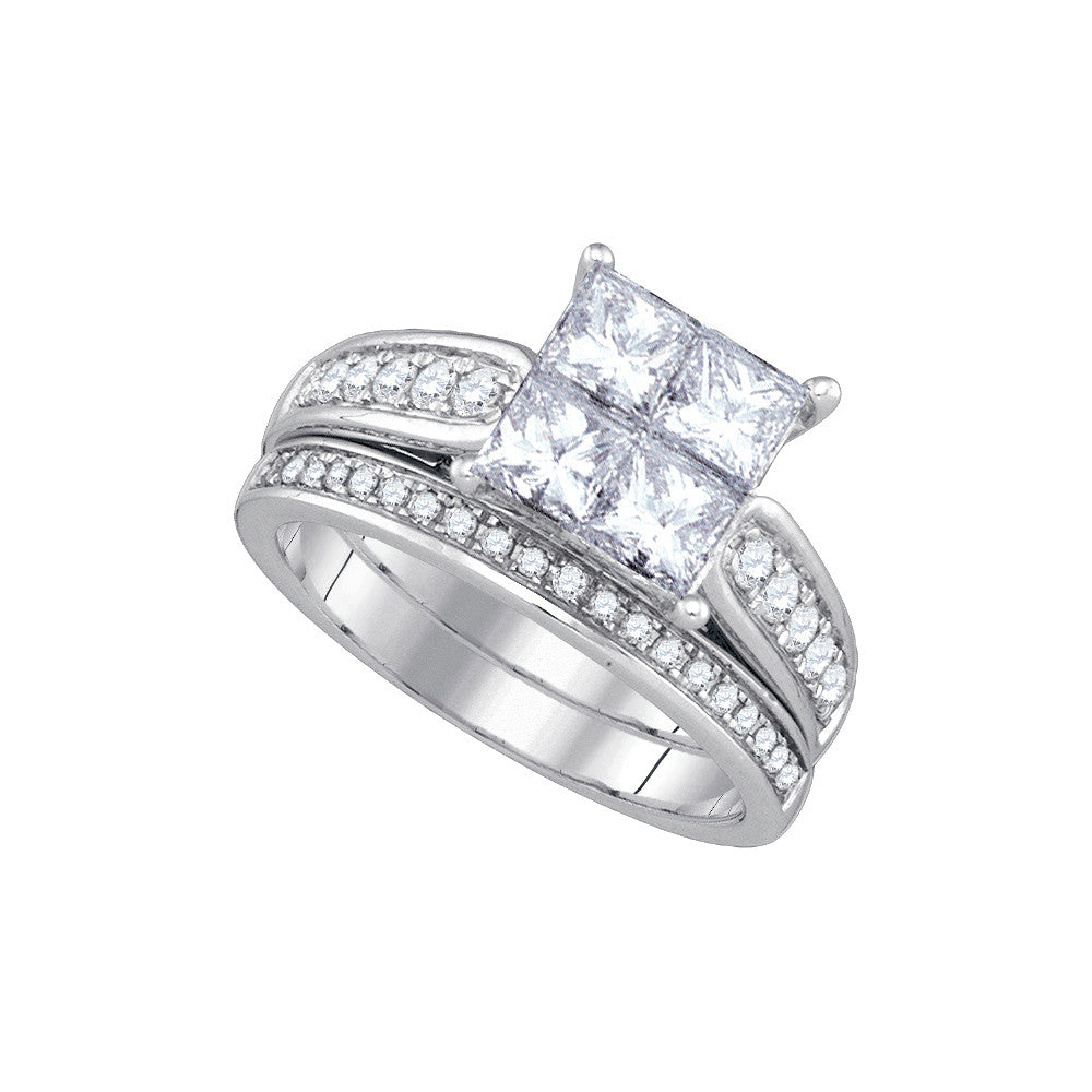 14k White Gold Princess Diamond Womens Luxury Quad Wedding Bridal Ring Set 1.00 Cttw 86696 - shirin-diamonds