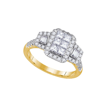 14kt Yellow Gold Womens Princess Diamond Rectangle Cluster Bridal Ring 1.00 Cttw 86697 - shirin-diamonds